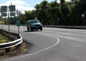 Zero milepost at Haawina Street-Kuakini Highway intersection confirms that this is southern end of county 180