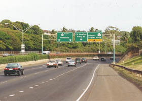 H201/H1 78 eastbound, approaching exit for Tripler Hospital