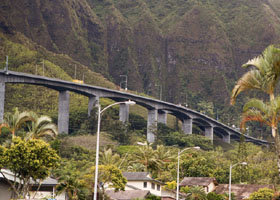 H-3 viaduct east of tunnels, above Ha'iku