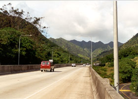 H-3 through scenic Halawa Valley, approaching tunnels