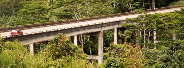 Two-lane concrete bridge  carrying route 56 over the Kalihiwai Stream