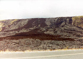 Lava flow down pali above Chain of Craters Road