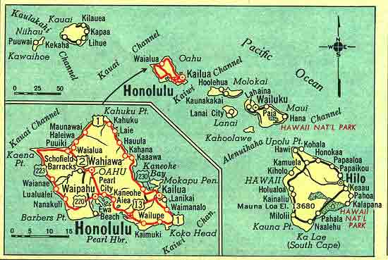 Hawaii map in 1959 atlas, showing some of Oahu's wartime routes