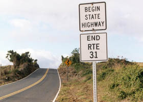 Sign:  Begin State Highway | End Rte 31