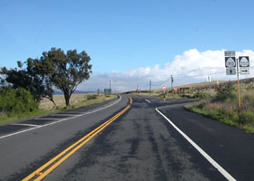 Junction of route 190 northbound with Ala Mauna Saddle Road