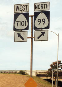 Route 7101 and 99 markers at their junction