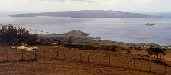 View of south Maui coast, from Kula Highway