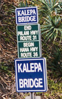 Enlarged sign at jct Hana and Piilani Highways
