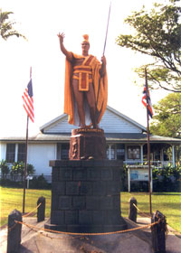 Statue of Kamehameha the Great, painted in earth tones, in Hawi