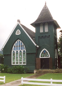The striking dark green Wai'oli Hui'ia Church in Hanalei