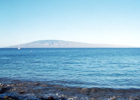 View of Lanai island, from Honoapiilani Highway