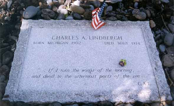 Closeup of Lindbergh gravestone