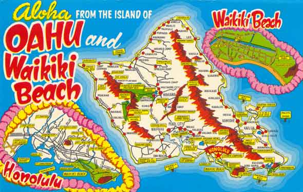 Postcard from early 1960s, showing Oahu highway network