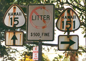 Rust-stained cutout shields at former route 15/route 151 junction on Big Island