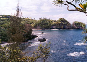 Scenic view of Onomea Bay