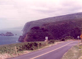 Scenic ocean view from route 270, near its terminus; large linked version of photo includes closeup of route marker