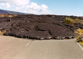 Lava flow over Chain of Craters Road, as of October 1999