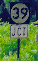 Route 39 marker, with black number on round white background