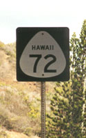 Route 72 marker with state name