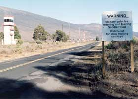 Warning of military traffic ahead on Ala Mauna Saddle Road