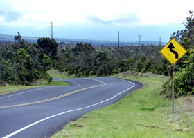 Wavy pavement on Ala Mauna Saddle Road east of Hilo