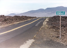 Old Saddle Road alignment at Hamakua District boundary