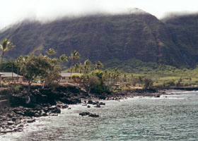 Sea cliffs above Kalaupapa village