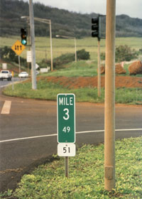 Terminal milepost at north end of route 51 on Kauai