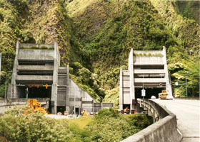 East portal of Interstate H-3 tunnels through Koolau Range