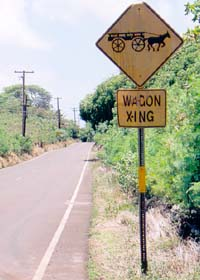 Wagon crossing sign