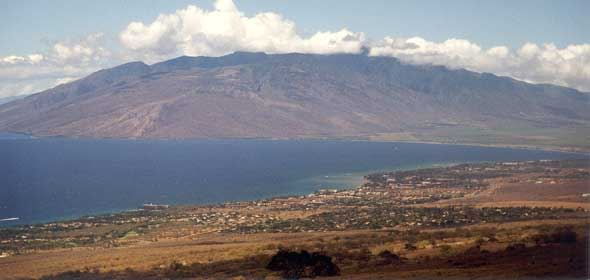 View of west Maui mountains and Maalaea Bay, from Kula Highway